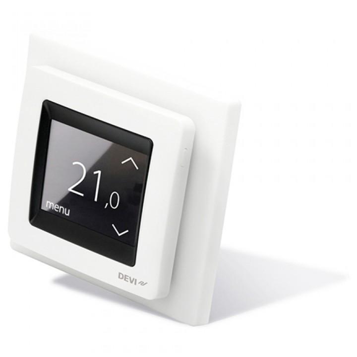 Терморегулятор DEVIreg™ Touch (сенсорный) с датчиком пола и воздуха 16 А, полярно-белый (140F1071)