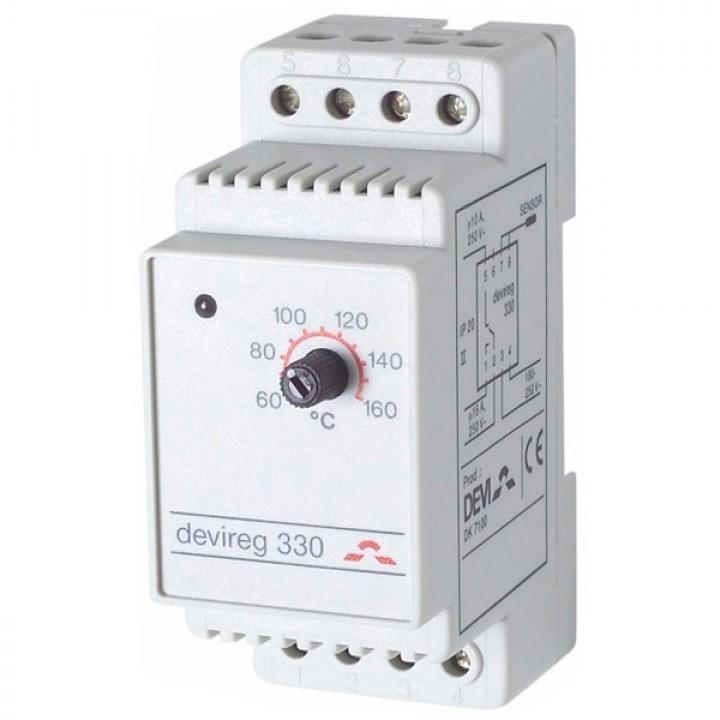 Терморегулятор Devi (Деви) - модель Devireg-330, +60°C-+160°C, с датчиком пола, 10А/16А (140F1073)
