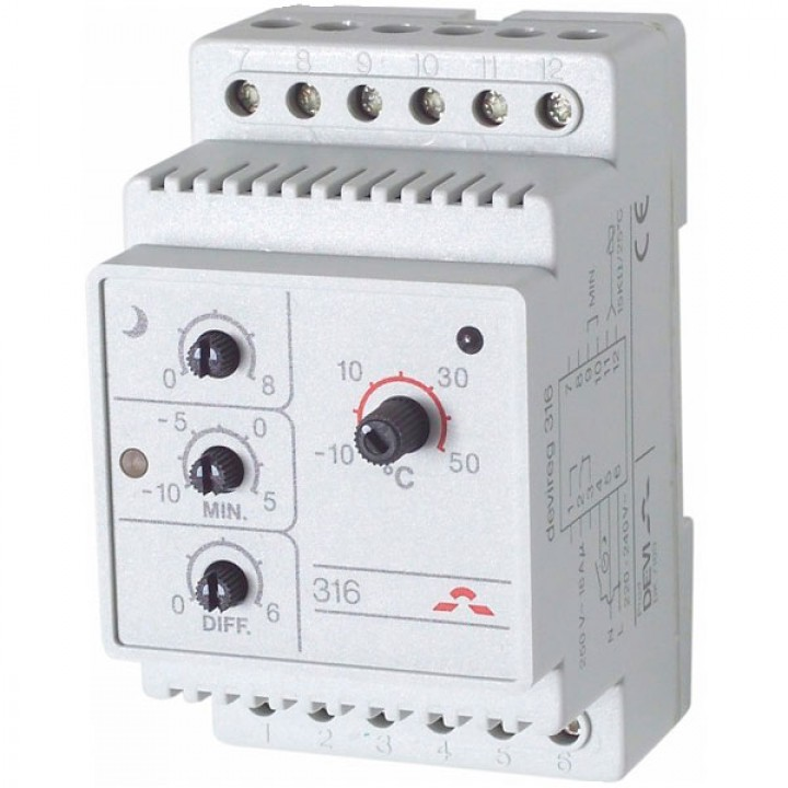Терморегулятор Devi (Деви) - модель Devireg-316, -10°C-+50°C, с датчиком воздуха, 16А (140F1075)
