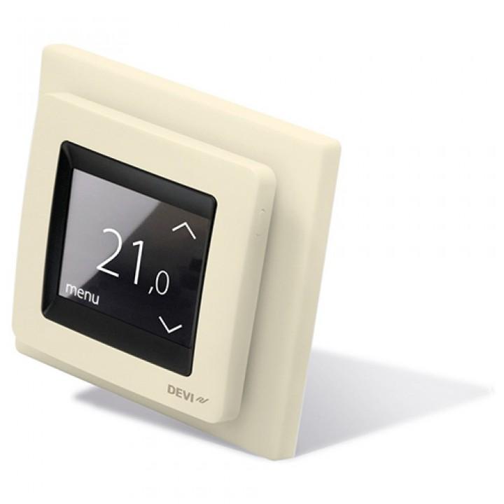Терморегулятор DEVIreg™ Touch (сенсорный) с датчиком пола и воздуха 16 А, слоновая кость (140F1078)