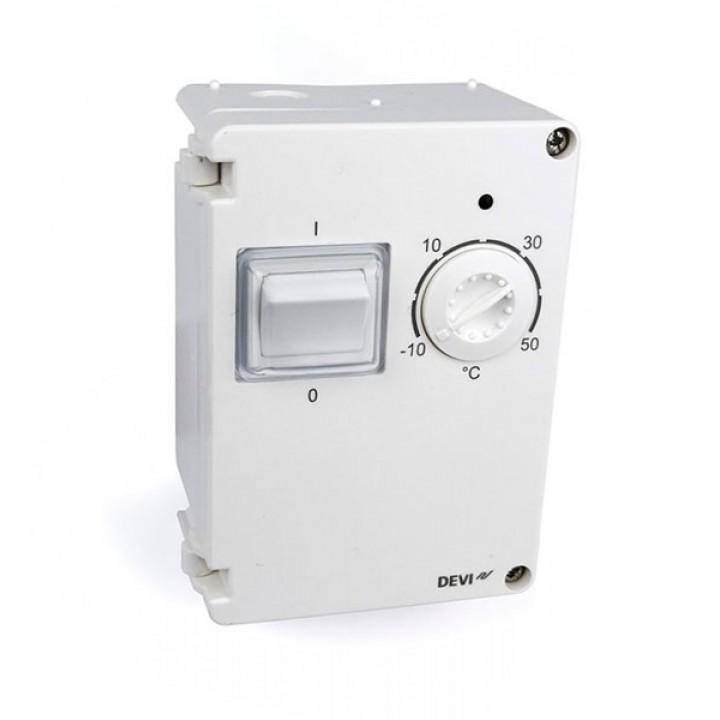 Терморегулятор Devi (Деви) - модель Devireg 610 с датчиком пола, 10А (влагозащищенный IP44) 140F1080